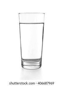 Glass of water on the white background, close up