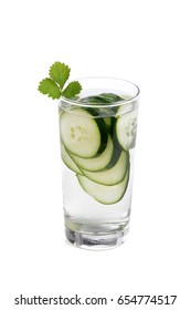 glass of water with sliced cucumbers white background