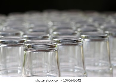 Glass of water that washed and overturned on the table.