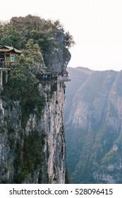 glass way on the Tianmen mountain viewpoint from cliff hanging walkway. tianmen mountain is located in zhangjiajie, china.