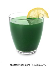 Glass of wheat grass juice on white background