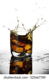 glass with whiskey isolated