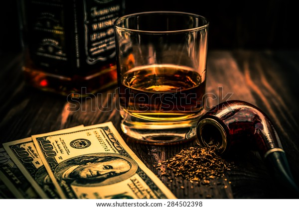 Glass Whiskey Money Tobacco Pipe Tobacco Stock Photo (Edit Now