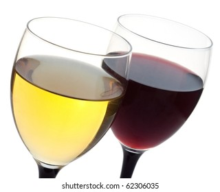 Glass of white and red wine on a white background