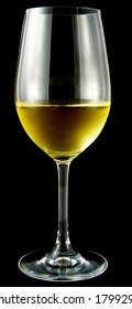 Glass of white wine against a black background