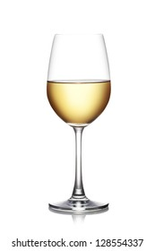 Glass of white wine isolated on a white background. The file includes a clipping path.