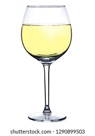 Glass of white wine isolated on white background. Full glass of wine. Vine concept