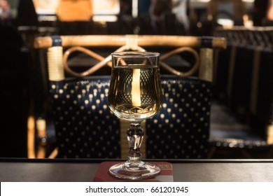 Glass of white wine in Montmartre, Paris