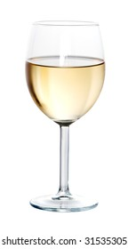 Glass of white wine on white background isolated