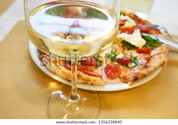Glass White Wine Pizza Italy Closeup Stock Photo Edit Now 1206238840