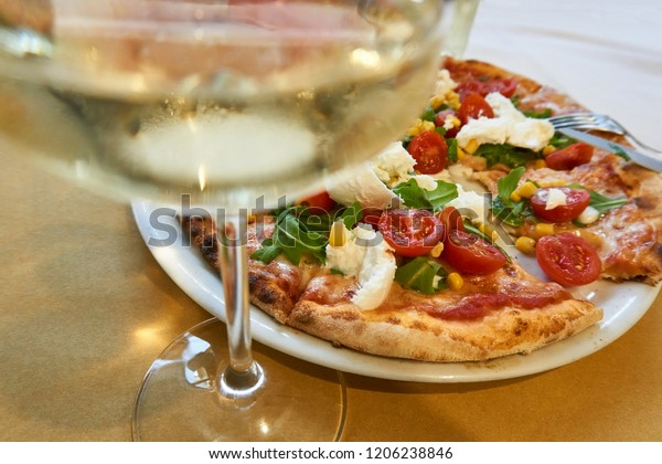 Glass White Wine Pizza Italy Closeup Stock Photo Edit Now 1206238846