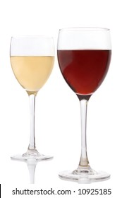a glass of white wine and a glass of red wine