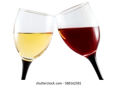 glass of white wine and glass of red wine isolated on white.