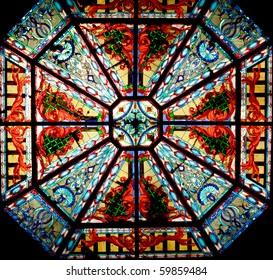 Glass window in church