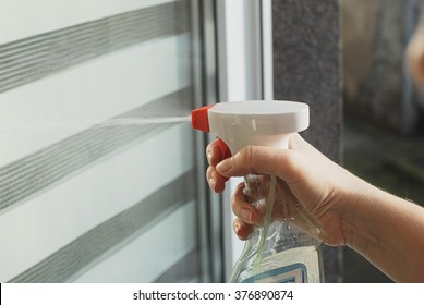 Glass window cleaning in Spring