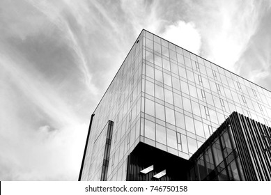 Glass windows of office building. Black and white.