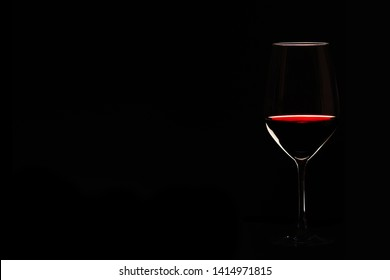 A glass of wine with copy space