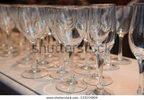 Glass of wine , Wine glasses - empty.