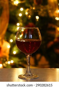 glass of wine on a festive background - bokeh
