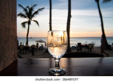 Glass of wine on the sunset. Palms and sea on the background.
