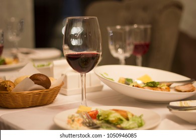 glass of wine on the table in the restaurant