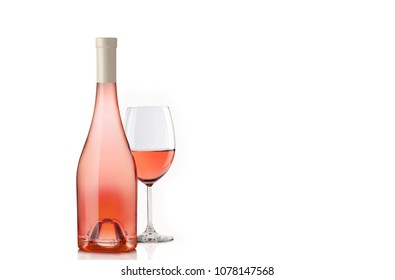 Glass of wine rose wine with bottle,isolated on white