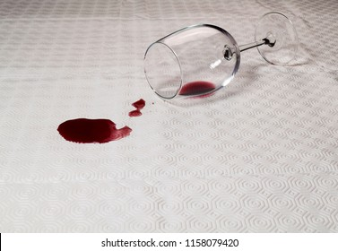 Glass of wine spilled