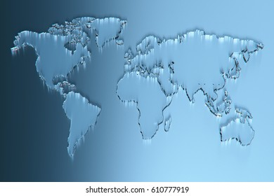 Glass world map background. 3D rendering