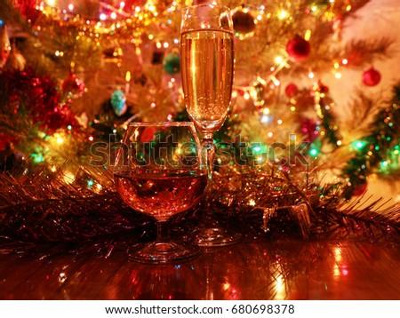 Christmas Alcoholic Drinks.Glasses Alcoholic Drinks On Background Christmas Stock Photo