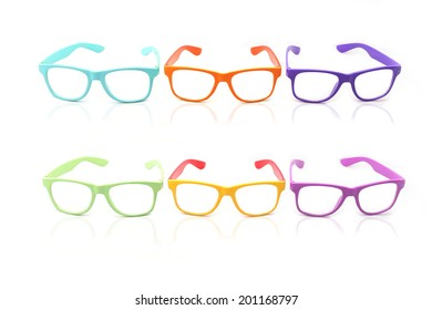 Glasses ,Beautiful color glasses isolated on white