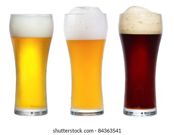 glasses with beer on a white background