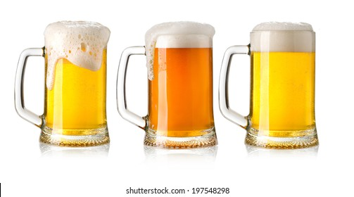 glasses of beer set isolated on a white background