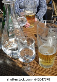 Glasses of beer and water  for skiers on a sunny day, Portes du Soleil, Avoriaz, France