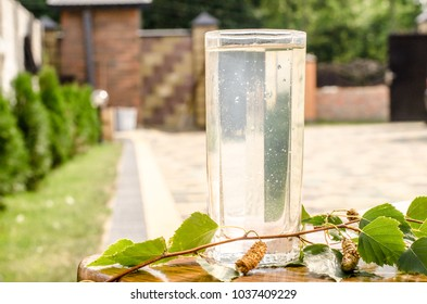 Glasses of birch sap juice birch branches on wooden table background. Concept of healthy and vitamin food spring useful vitamin nutrition fresh drink.