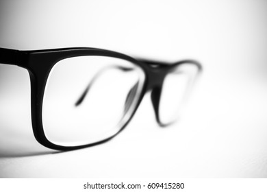 Glasses black and white close up. White background.