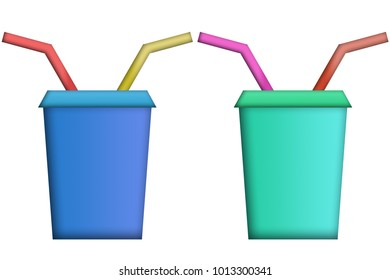 Glasses of blue color with red, yellow and pink straws.