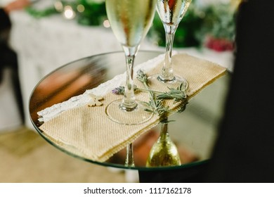 glasses and bottles of cold champagne for the toast of the couple