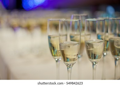 glasses of champagne close up background