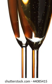 Glasses of champagne closeup isolated overwhite background
