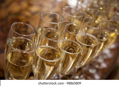 lot of glasses with champagne during on the party table