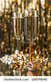 Glasses of champagne in holiday setting