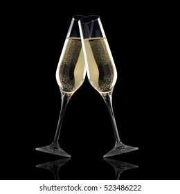 Glasses of champagne isolated on a black background