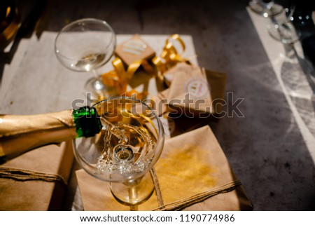 glasses champagne new year background