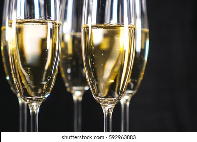 Glasses of Champagne or sparkling wine