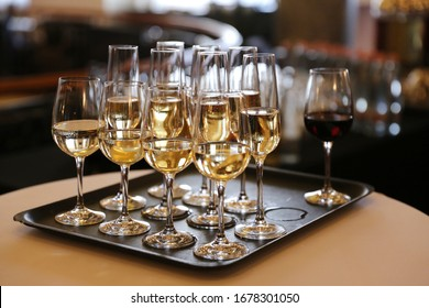 Glasses of champagne and sparkling wine served on event