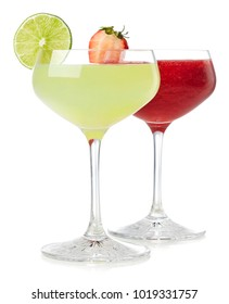Glasses of classic lime and strawberry daiquiri cocktail