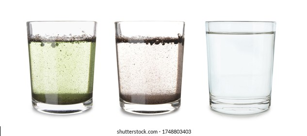 Glasses with clean and dirty water on white background - Shutterstock ID 1748803403