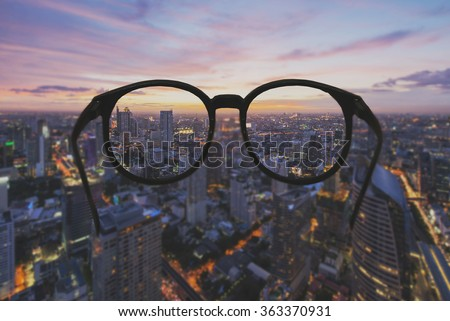6ce5359b97 Glasses Clear Vision Night Cityscape Focused Stock Photo (Edit Now ...