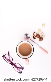 Glasses, coffee and dried fruit.