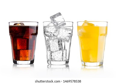 Glasses of cola and orange soda drink and lemonade sparkling water on white background with ice cubes - Shutterstock ID 1469578538